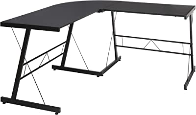 "OFM ESS Collection Metal Frame L-Shaped, Corner Computer Desk, 60"", Black"