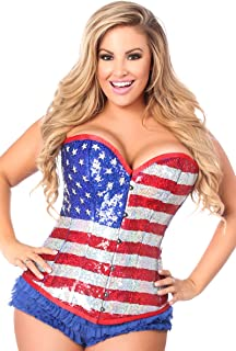 Daisy corsets Women's Top Drawer Steel Boned Sequin Flag Corset