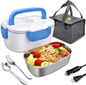 Electric Lunch Box, 12V 24V 110V Portable Heating Lunchbox Leakproof Food Heater warmner for Car School Office with Stainless Steel Container, Fork & Spoon and Carry Bag