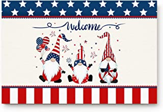 Entrance Front Indoor Doormats Gnome Independence Day Non-slip Low Profile Rubber Backing Floor Carpet Rug for High Traffi...