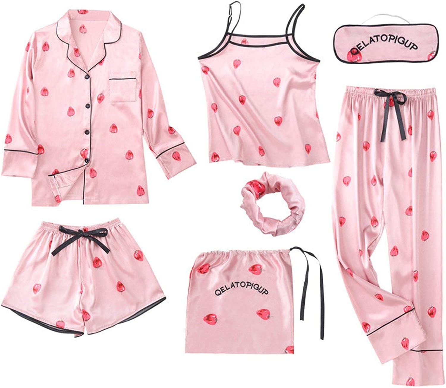 Glittering time Pajamas Seven Piece Set Summer Spring Long Sleeves Shorts Sexy Sling Simulation Silk Home Clothes Suit