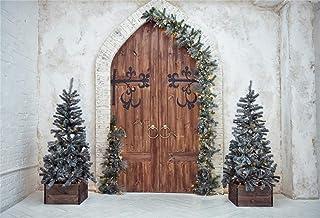 Laeacco Hintergrund mit weihnachtlichem Thema, Vinyl, 2,1 x 1,5 m, Vintage Stil, mit Holztür, Weihnachtsbäume, einfarbig, Limettengrund, für Weihnachten, Party, Banner, Kinder, Baby, Porträtaufnahmen