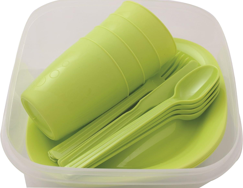 Menz Stahlwaren GmbH Presupuesto lata camping set para 4 personas con platos, vaso y cubiertos, verde - 1 unidad, 1 pieza