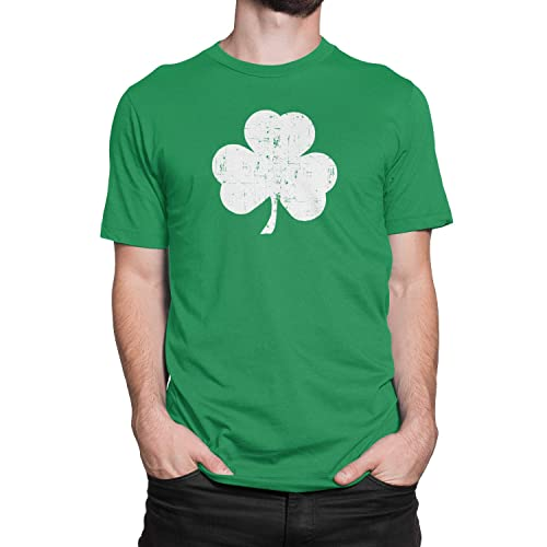 83fa16374 USA Screen Printed Retro Green Irish Distressed Shamrock T-Shirt St  Patricks Day Mens Ireland