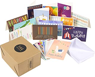 $28 » 144 Pack Assorted Greeting Happy Birthday Cards - Bulk Box Variety Set Includes 36 Unique Designs and White Envelopes, 4 x 6 Inches Folded