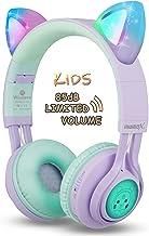 Kids Headphones, Riwbox CT-7S Cat Ear Bluetooth Headphones 85dB Volume Limiting,LED Light..
