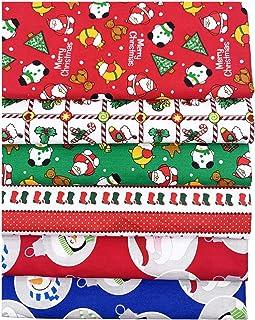 KESYOO 6Pcs Folha de Tecido de Algodão de Natal Patchwork Tecido de Sucata de Algodão Tecido Acolchoado para Costura Diy S...