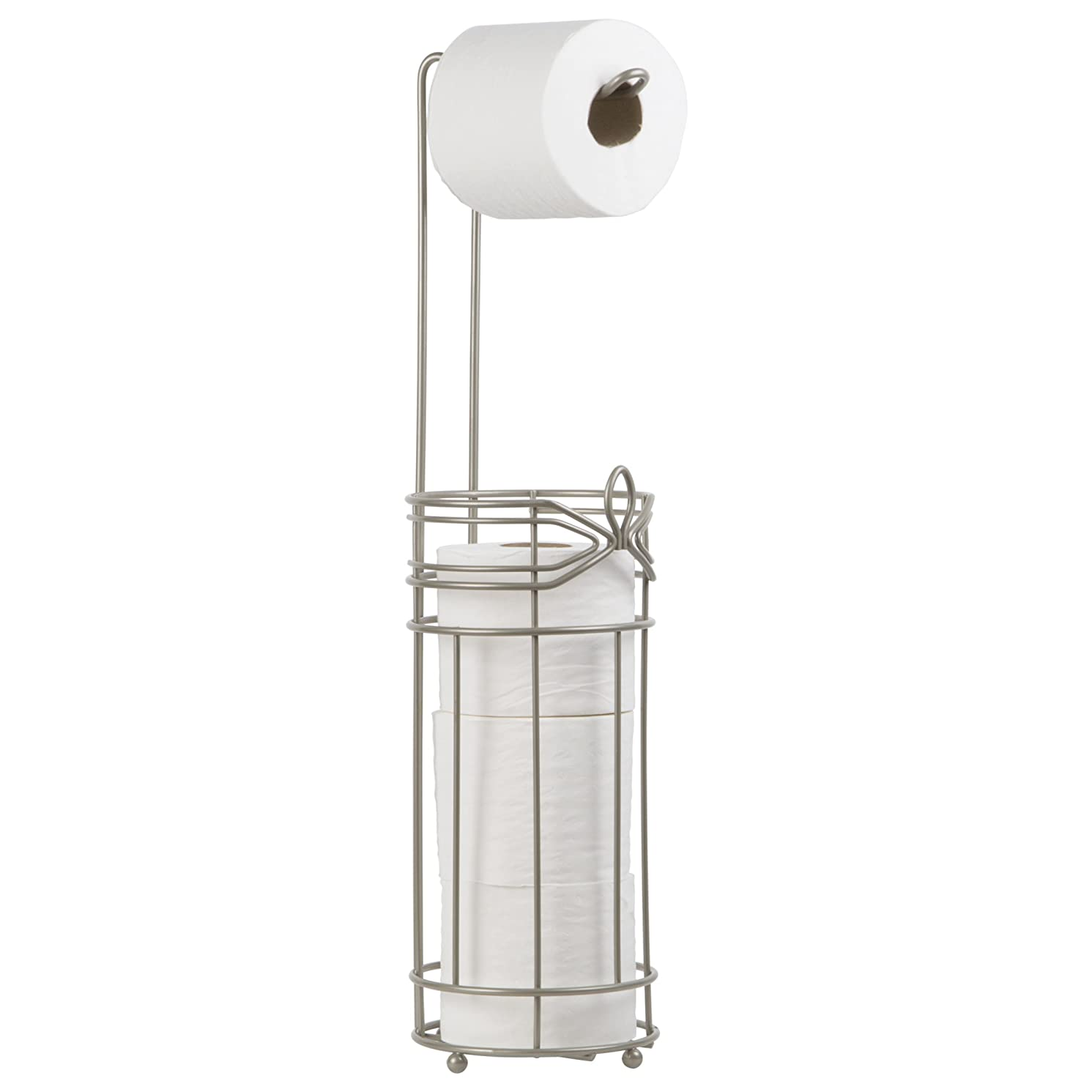 Satin Nickel Toilet Paper Reserve with Hook Modern Style Holder with Dispenser - Hold 4 Tissue Rolls - Free Standing Bathroom Storage Accessory