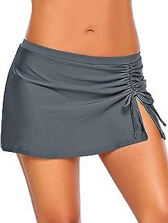 8f0c860492 Utyful Women s Elastic Mid Waist Side Slit Pull Tie Swim Skirt Swimsuit  Bottom