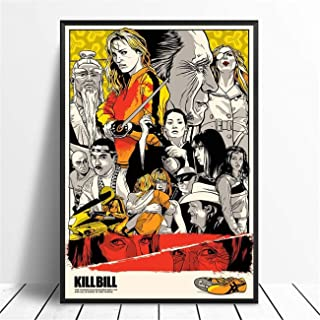 NATVVA Wall Art Print Canvas Painting Kill Bill Pulp Fiction Movie Posters Abstract Artwork Wall Picture Home Decor for Living Room Gym Decor Stretched by Wooden Frame