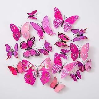 Lot de 36 stickers muraux amovibles en forme de papillons 3D pour décoration de maison, chambre d'enfant violet