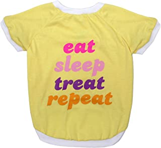 DOG TEE SHIRT Licensed by LaurDIY - EAT SLEEP TREAT REPEAT - LAURDIY Dog Shirt, Medium