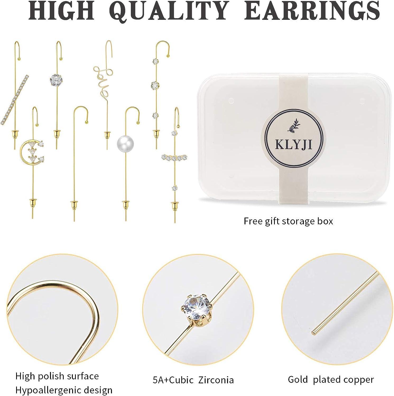 Ear Wrap Crawler Hook Earrings For Women Girls Fashion Gold Plated Cuff Earring Hypoallergenic Piercing Rhinestone Ear Jewelry