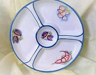 Le Ceramiche Del Re, Antipastiera Aperitivo, Antipastiera Ceramica Pesce a Scomparti