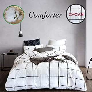 Wellboo White Comforter Sets Plaid Grid Cotton Bedding Queen Full Checkered Boy Girl Quilts Big Large Plaid Pattern Reversible Comforter Black Geometric Checkered Square Soft Warm with 2 Pillowcases