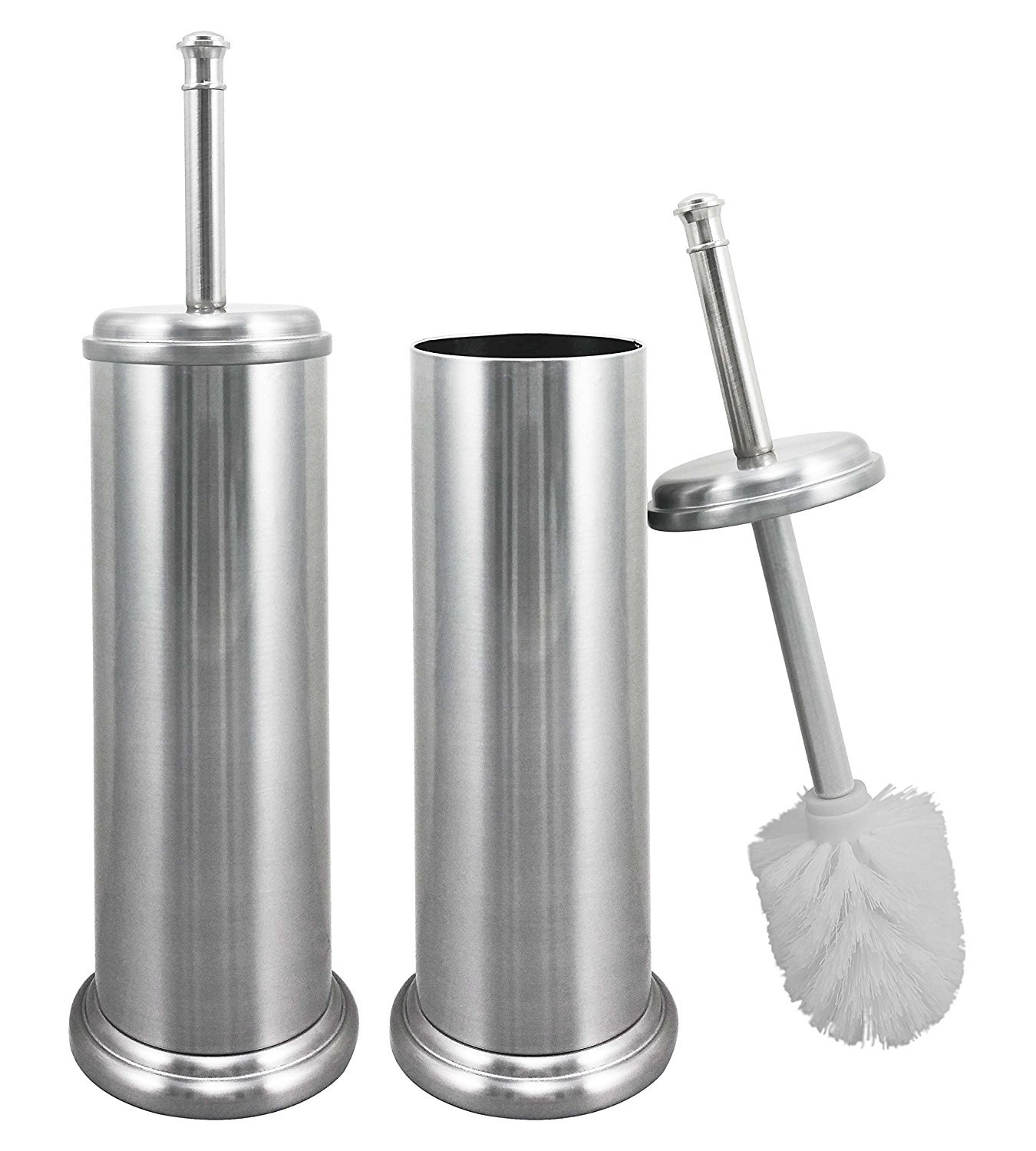 LDR Toilet Brush and Canister Metal Stem - Brushed Nickel Finish - Rust Resistant Construction - Slim Compact Design for Small Spaces - 2 Pack