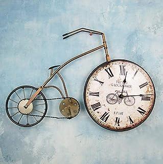 BiuTeFang Reloj de Pared Silencioso?Moderno Decorativo Creativo Bicicletas 57.5x38x6CM Color Retro