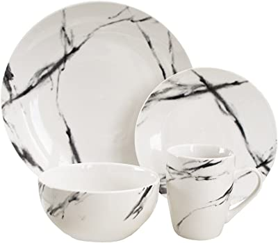"""American Atelier Marble Black Coup Casual Round Porcelain Dinnerware Set-16 Piece Party Collection w/ 4 Dinner Salad Plates, 4 Bowls & 4 Mugs, 10.5"""", White"""