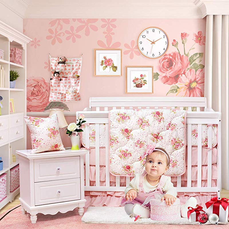 Brandream Floral Baby Bedding Set For Girls Crib Bedding Set With Bumper Pads Luxurious Princess Nursery Bedding Blush Rose Flowers Printed 8 Pieces
