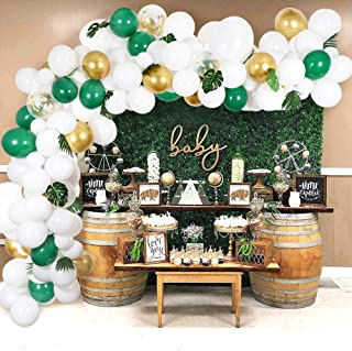 Aytai Balloon Garland Kit, Including 108Pcs White Green Gold Confetti Balloons, Artificial Palm Leaves 10Pcs, Balloon Arch Garland for Birthday, Wedding, Baby Showers Party Decoration