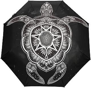 Ornate Turtle Tattoo Auto Open Close Foldable Windproof Travel Umbrella