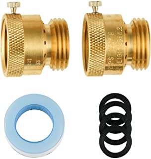 SUNGATOR 2-Pack Vacuum Breaker Set, 3/4 Inch Backflow Preventer, Anti-Siphon Hose Bib Valve for Garden Spigot, RV, Solid Brass Anti-Backflow Valve with Teflon Tape