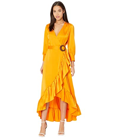 WAYF Savoia Belted Wrap Long Sleeve Midi Dress (Tangerine) Women