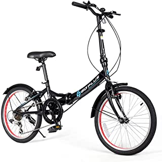 Goplus 20'' Folding Bike, 7 Speed Shimano Gears, Lightweight Iron Frame, Foldable Compact Bicycle with Anti-Skid and Wear-Resistant Tire for Adults