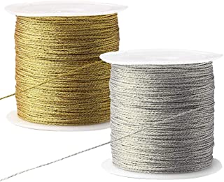 Nuosen 2 rolle Metallic Kordel, 100 Meter Elastische Kordel Craft Cord für Geschenkpapier Dekoration KunsthandwerkSilber,Gold