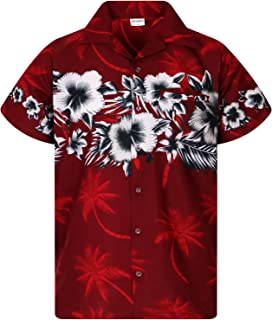 King Kameha Funky Hawaiian Shirt Men Shortsleeve Frontpocket Hawaiian-Print Leaves Flowers Chest Border Print