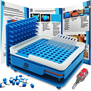 Daily Delux English Version #00 Capsule Holder with Improved Tamper (Includes Free Pill Box & Screwdriver), 100 Holes Tray for Capsules, Filling Tools (Blue #00)