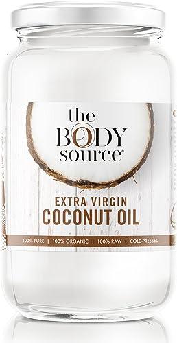 The Body Source Huile de Coco BIO, 100% Pure et Extra Vierge (1 Litre) - 100% Brute et certifiée biologique - Soin po...