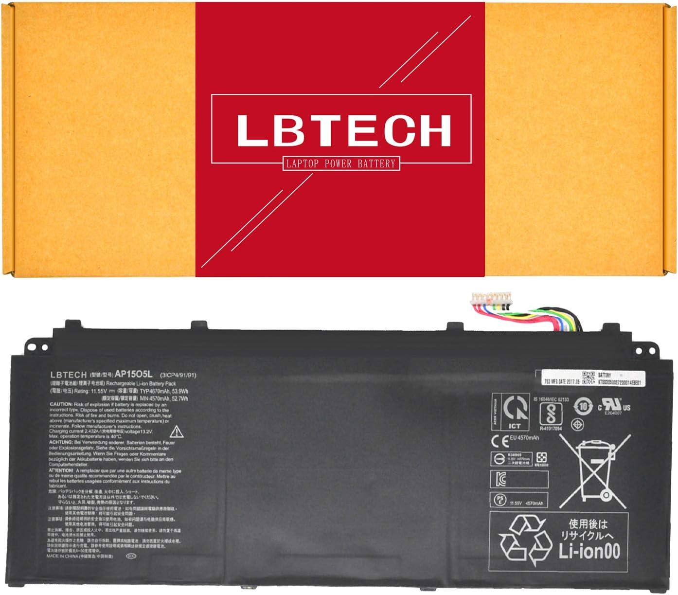 LBTECH AP15O5L AP15O3K Battery Replacement for Acer Aspire S13 S5-371 S5-371T S5-371-53NX S5-371-52JR Chromebook R13 CB5-312T CB5-312T-K0YK Series AP1503K AP1505L 11.55V 53.9Wh