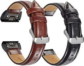 OTOPO Leather Strap for Fenix 6/6 Pro Bands & Fenix 5/5 Plus Bands & Forerunner 935/945 Bands, 2Pack 22mm Easy Fit Leather Wrist Band Replacement Bracelet Compatible Garmin Fenix 5/5 Plus Smartwatch