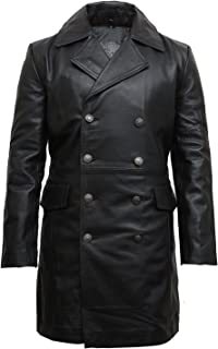 Brandslock Leather Trench Coat Mens Black Genuine Cowhide Three-Button Military U Boat Captains Jacket