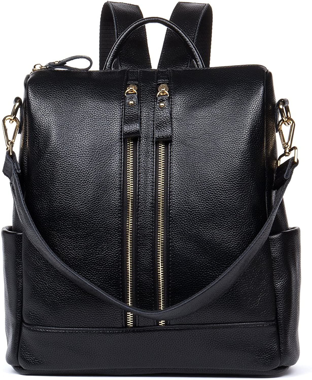 HMILY Leather MultiFunctional Backpacks Women Purse Casual Satchel Shoulder Bag Black