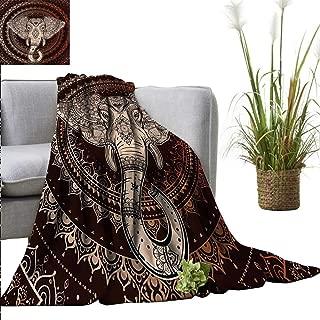 Baby Blanket Ethnic,Oriental Elephant Head in Mandala Circle with Lines Folk Totem Design,Maroon Beige Super Soft Light Weight Cozy Warm Plush Hypoallergenic Blanket 30