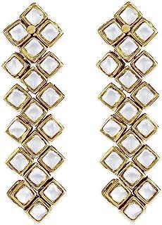 Karatcart 24K GoldPlated Designer Kundan Long Traditional Earrings for Women