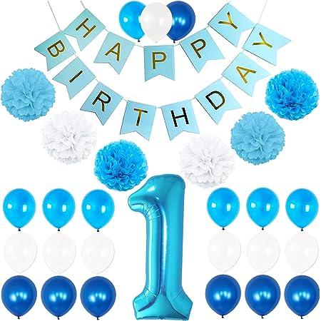 Blue Gingham First 1st Birthday Boys Cascade Table Decoration Party Age 1 Boy
