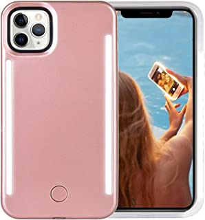 Wellerly iPhone 11 Pro Max Case, LED Illuminated Selfie Light Up [Rechargeable] Luminous Flashlight Cellphone Case Cover for iPhone 11 Pro Max - Rose Gold
