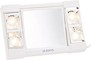 Jerdon J1010 6-Inch Portable Tabletop Two-Sided Swivel Lighted Makeup Mirror with 3x Magnification, White Finish
