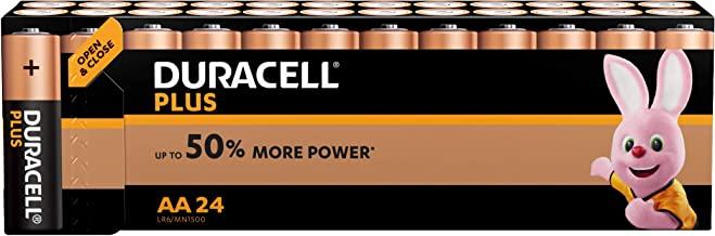 Duracell Plus AA Alkaline Batteries, 1.5 Volts LR06 MX1500, Pack of 24