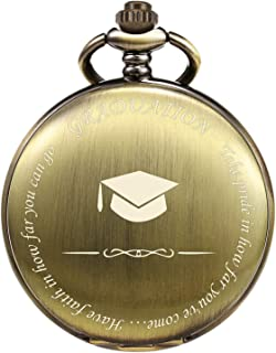 TREEWETO Engraved Pocket Watch Graduation for Him Her College High School for Son Daughter Men Boys Classmates