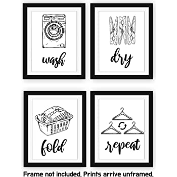 home decor bathroom signs.htm amazon com modern 5th laundry room signs  set of 4 unframed 8  amazon com modern 5th laundry room
