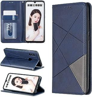携帯電話レザーケース Huawei P Smart 2019 / Honor 10 Lite用の菱形テクスチャ水平フリップ磁気レザーケース(ホルダー&カードスロット付き) レザーケース (色 : Blue)