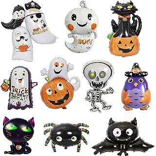 10 Pcs Halloween Foil Balloons Aluminum Mylar Helium Balloons Black Cat Ghost Spider Pumpkin Bat Zombie Skeleton Owl Ballo...
