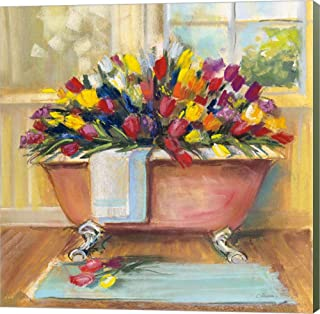 Bathtub Bouquet II by Carol Rowan Canvas Art Wall Picture, Museum Wrapped with Sage Green Sides, 12 x 12 inches