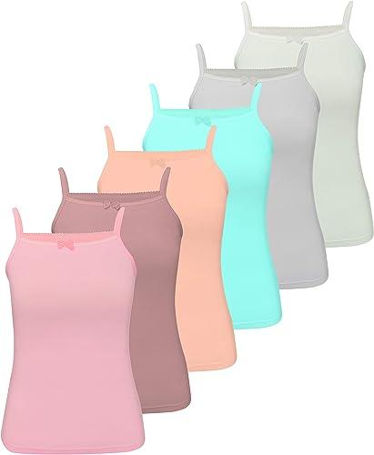 LOREZA® 6 Filles sous-vêtements en Coton Débardeur Enfants Divers Motifs 2-13 Anni / 92-158
