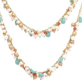 DCA Women's Multi-Colour Multi-Strand Glass and Metal Necklace
