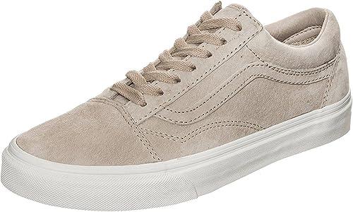 Vans Old Skool Beige Blanc pour femme en daim Skate Baskets ...